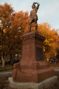 Leif Eriksson Statue by Anne Whitney, erected in 1887 at the west end of the Commonwealth Avenue Mall in Boston