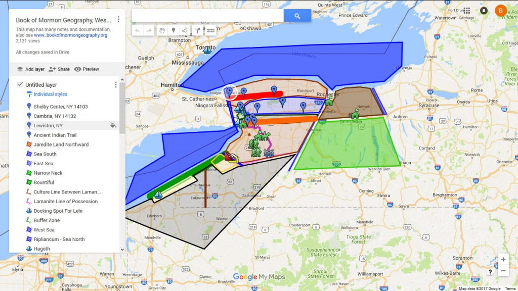 Interactive Google Map, Book of Mormon Geography Model: Western New York
